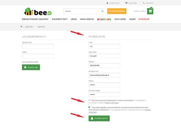 stwórz konto na Bee.pl