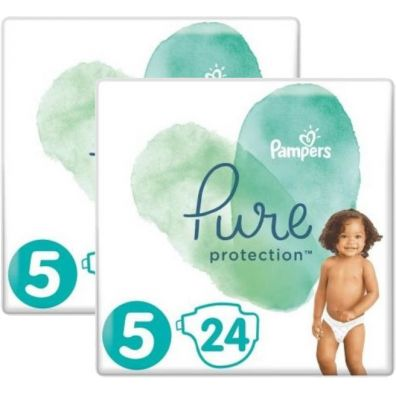 Pampers Pure Protection Pieluchy Junior 5 (11+ kg) Zestaw 2 x 24 szt.