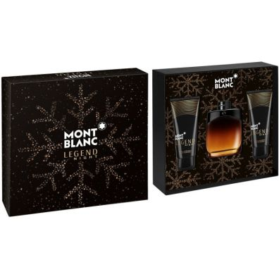 Mont Blanc Legend Night Woda perfumowana spray 100ml + Balsam po goleniu 100ml + Żel pod prysznic 100ml