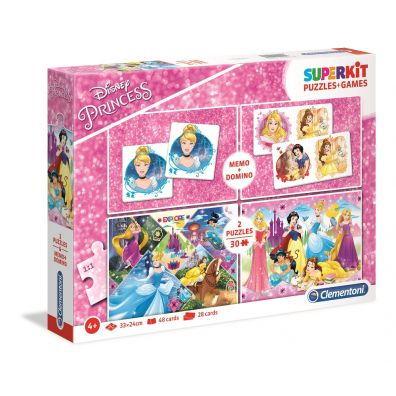 Superkit puzzle 2x30 + memo + domino Princess