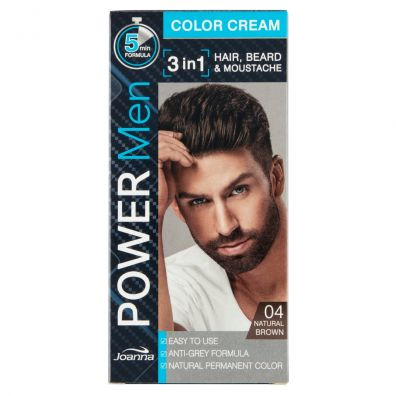 Joanna Power Men Color Cream 3in1 Hair Beard Moustache farba dla mężczyzn 04 Natural Brown 30 g