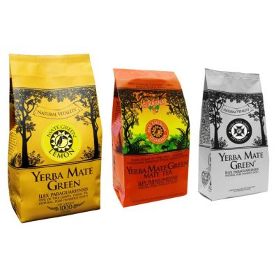 Mate Green Yerba Mate: Lemon + Mas Energia Guarana + Despalada Zestaw 1 kg + 2 x 200 g