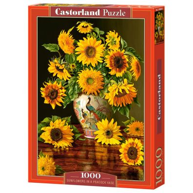 Puzzle 1000 Sunflowers in a Peacock Vase - Castorland