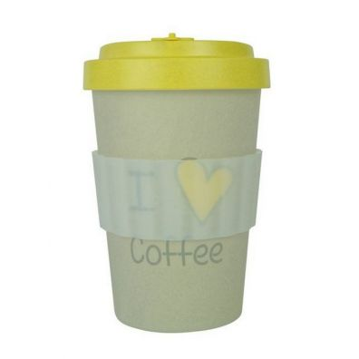 Retap Kubek z bambusa - I LOVE COFFEE yellow 400 ml