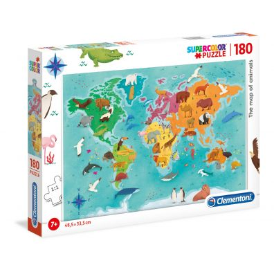 Puzzle 180 Supercolor The map of Animals Clementoni