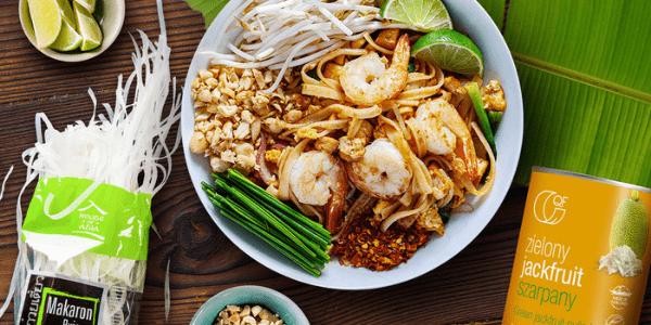 Pad Thai z krewetkami i jackfruitem szarpanym