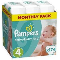 Pampers Pieluszki Maxi 4 Active Baby-dry (9-14 kg) Monthly Box 174 szt.