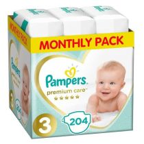 Pampers Pieluszki Midi 3 Premium Care (5-9 kg) Monthly Box 204 szt.