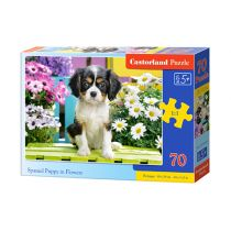 Puzzle 70 Spaniel Puppy in Flowers