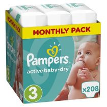Pampers Pieluszki Midi 3 Active Baby-dry (6-10 kg) Monthly Box 208 szt.