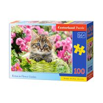 Puzzle 100 Kitten in Flower Garden